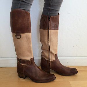 Frye Leather Two Tone Boots